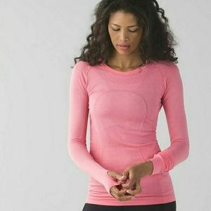 light pink lululemon swiftly tech long sleeve top